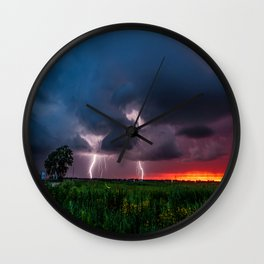 Lightning Bugs - Fireflies Whirl Around During Summer Storm in Oklahoma Wall Clock