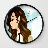 castiel Wall Clocks featuring Castiel by Kaylain Cook