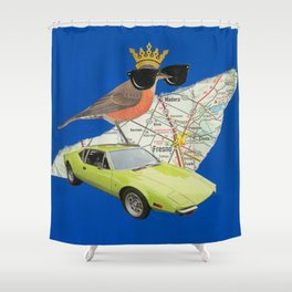 Robin Road Trip - Vintage Collage Shower Curtain