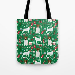 Jack Russell Terrier christmas festive holiday red and green dog lover gifts Tote Bag