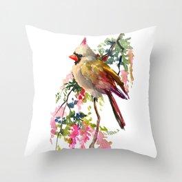 Cardinal Bird Earth Green Olive green Pink Throw Pillow