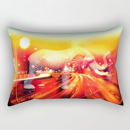 Elephant on the highway. Rectangular Pillow
