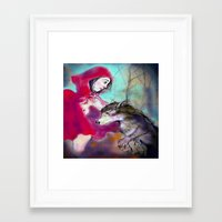 red hood Framed Art Prints featuring red hood by AliluLera