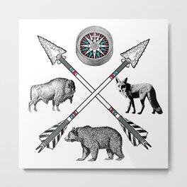 Crossed Arrows Compass Bison Fox Bear Metal Print