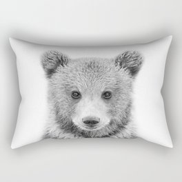Baby Bear Black & White, Woodland Nursery Decor, Baby Animals Art Print by Synplus Rectangular Pillow