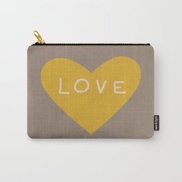 Golden love heart on grey Carry-All Pouch