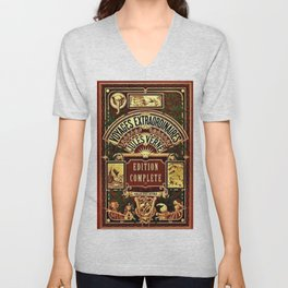 Jules Verne Voyages Extraordinaire Red Lithographic Print by Jeanpaul Ferro Unisex V-Neck