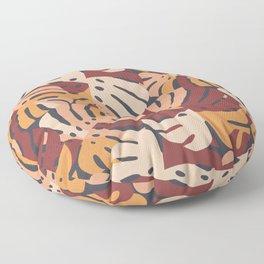 Color Block Monstera Leaves in Maroon Floor Pillow