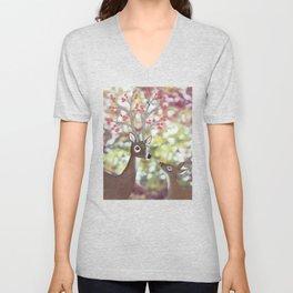 white tailed deer, tufted titmice, & cherry blossoms Unisex V-Neck