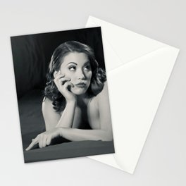 """Bored Now"" - The Playful Pinup - Modern Boudoir with Piercing by Maxwell H. Johnson Stationery Cards"