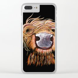 Scottish Highland Cow ' DASHING DOUGAL ' by Shirley MacArthur Clear iPhone Case