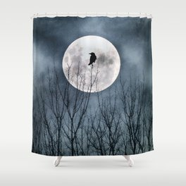 Night Raven Lit By The Full Moon Shower Curtain