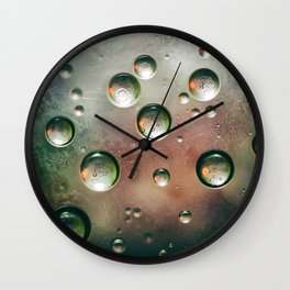 Organic Silver Oil Bubble Abstract Wall Clock