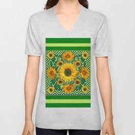 Green Color & Yellow Sunflowers Garden Pattern Art Unisex V-Neck