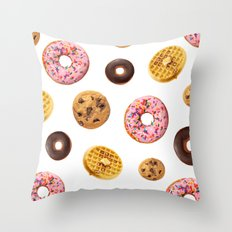 Donuts and Junk Throw Pillow