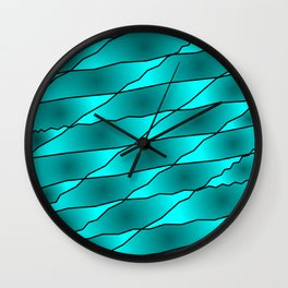 Slanting iridescent lines and rhombuses on light blue with intersection of glare. Wall Clock