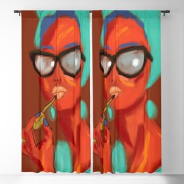 Lipstick Lady #OilPainting #ArtNouveauStyle Blackout Curtain