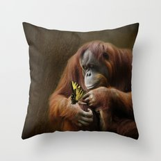 Orangutan and Butterfly Throw Pillow