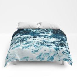 Disobedience - ocean waves painting texture Comforters