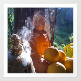 Buddha with Incense  Art Print