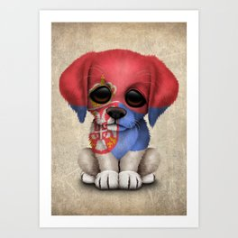 Cute Puppy Dog with flag of Serbia Art Print
