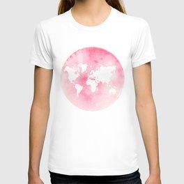 Pink world map T-shirt