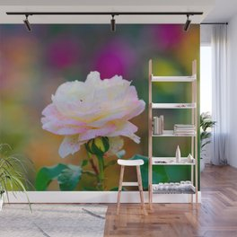 Beautiful Pink Freckled Rose Flower, Colorful Background Wall Mural