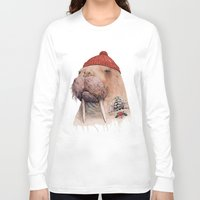 walrus Long Sleeve T-shirts featuring Tattooed walrus by Animal Crew