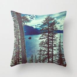 Crater Lake Vintage Summer Throw Pillow