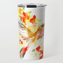 Hummingbird and Flame Colored Flowers, yellow red floral art design Travel Mug