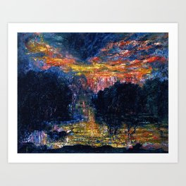 The Domain of Arnheim (colorful sunset on the water) portrait painting by Jeams Ensor Art Print