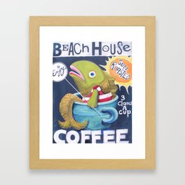 Beach House Coffee Framed Art Print