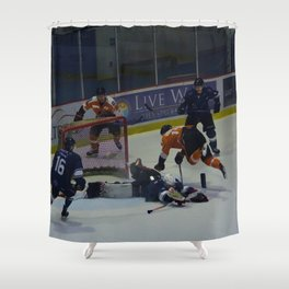 Dive for the Goal - Ice Hockey Shower Curtain