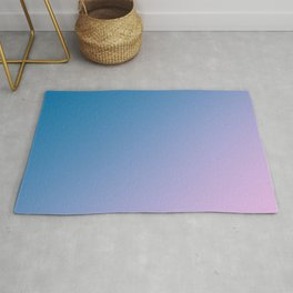 Blue and Soft Light Pink Magenta Gradient Ombré Abstract Rug