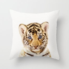 Baby Tiger, Baby Animals Art Print By Synplus Throw Pillow