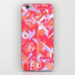 GEOMETRY SHAPES PATTERN PRINT (WARM RED LAVENDER COLOR SCHEME) iPhone Skin