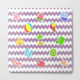 Summertime Girly Beach Pattern | Kids Pink Chevron Pop Art Metal Print