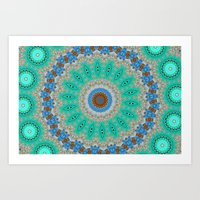 Lovely Healing Mandalas in Brilliant Colors: Blue, Brown, Teal, Silver and Gold Art Print