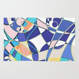 Abstract curves pattern in retro colors print Rug