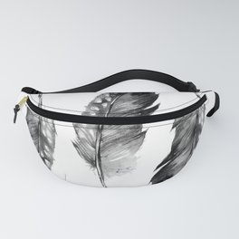 Three Feathers Black And White Fanny Pack