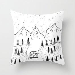 Minimal Camping Rv Hippie Van Camper Mountain Wild Outdoor Throw Pillow
