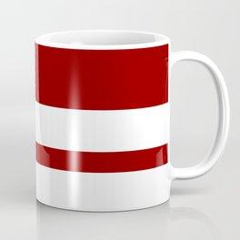 Mixed Horizontal Stripes - White and Dark Red Coffee Mug