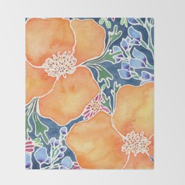 Masked Flora Collection Poppies Throw Blanket