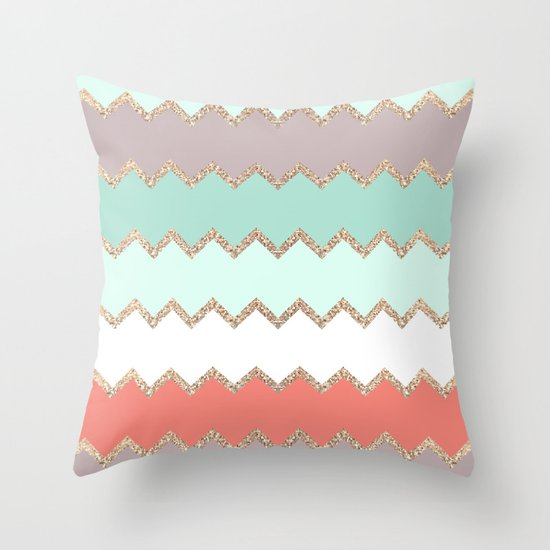 Throw Pillows Coral : AVALON CORAL MINT Throw Pillow by Monika Strigel Society6