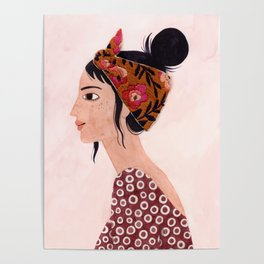 Embroidered scarf Poster