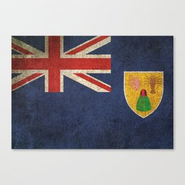 Old and Worn Distressed Vintage Flag of Turks and Caicos Canvas Print
