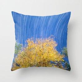 Autumn Foliage With Star Trails Throw Pillow