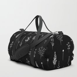 Black wildflowers Duffle Bag