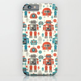 Retro Space Robot Seamless Pattern iPhone Case