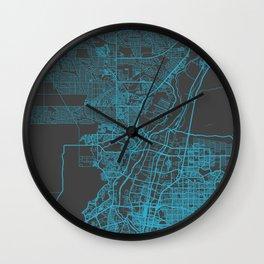 Albuquerque map blue Wall Clock
